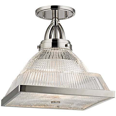"Harriman 11 1/4"" Wide Polished Nickel Ceiling Light"