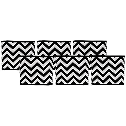 Black and White Chevron Lamp Shades 5x5x5 Set of 6 (Clip-On)