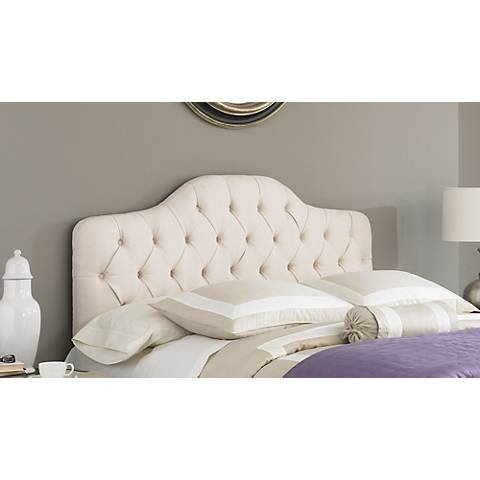 Elena Cosmo Stone Upholstered Arched Queen Headboard