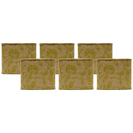 Muted Green Floral Lamp Shades 5x5x5 Set of 6 (Clip-On)