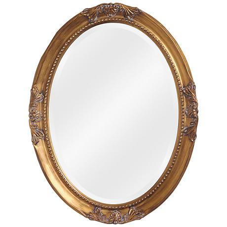 """Howard Elliott Queen Ann 35"""" x 33"""" Antique Gold Mirror"""