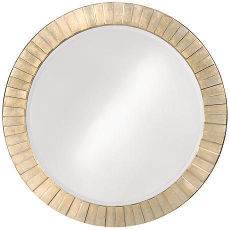 """Howard Elliott Serenity 34"""" Round Silver Leaf Wall Mirror"""
