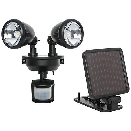 Black Dual Head Solar Powered LED Security Spotlight