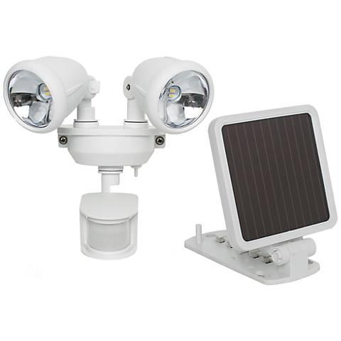 White Dual Head Solar Powered LED Security Spotlight