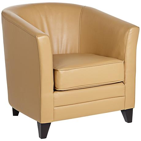 Chasen Straw Tan Bonded Leather Club Chair