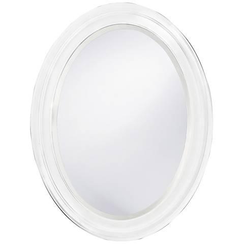 "Howard Elliott George 25"" x 33"" Oval White Mirror"