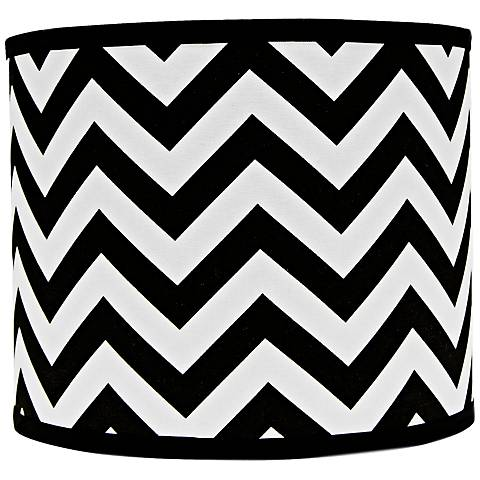 Black and White Chevron Drum Lamp Shade 12x12x10 (Spider)