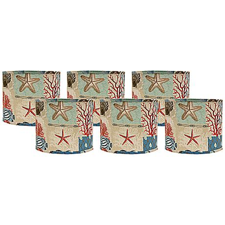 Set of 6 Nautical Patchwork Shades 5x5x4.5 (Clip-On)