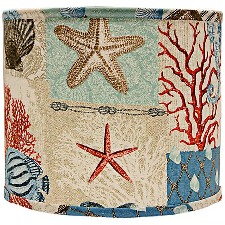 Nautical Patchwork Lamp Shade 12x12x10 (Spider)