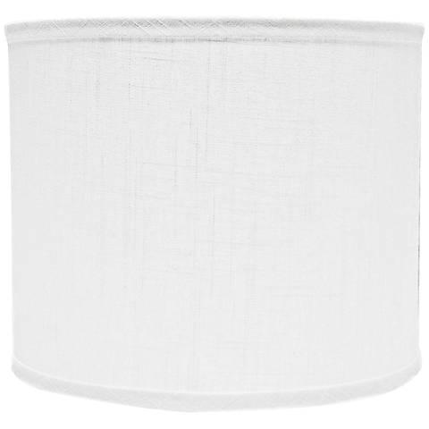 White Linen Drum Lamp Shade 14x14x11 (Spider)