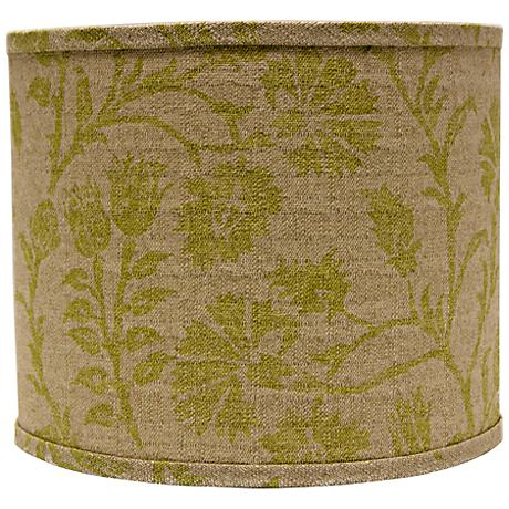 Muted Green Floral Drum Lamp Shade 12x12x10 (Spider)