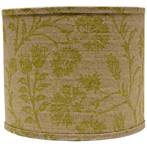 Muted Green Floral Drum Lamp Shade 14x14x11 (Spider)