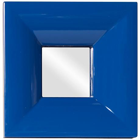 "Howard Elliott Candy 9"" Square Blue Wall Mirror"