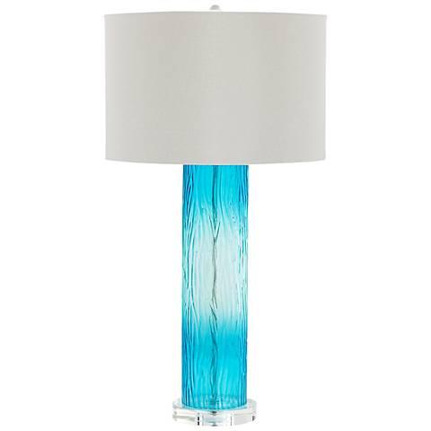 Blue Dawn Cyan Blue Glass Table Lamp