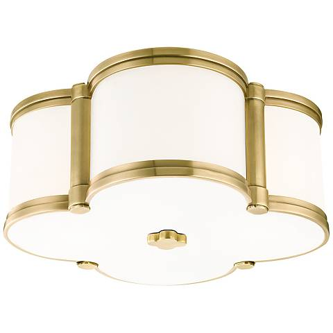 "Hudson Valley Chandler 12 1/2""W Aged Brass Ceiling Light"