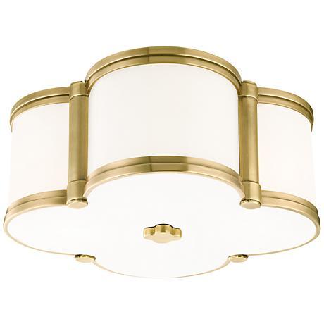 "Hudson Valley Chandler 12 1/2""W Aged Brass Ceiling Light"