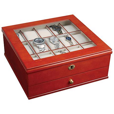 Mele & Co Chris Walnut Locking Wooden Watch Box