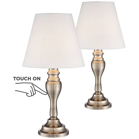 "Set of 2 Thom Brass Finish 18 1/2"" High Touch Table Lamps"