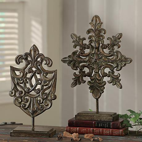 """Crestview Collection 16"""" High Set of 2 Crest Statues"""