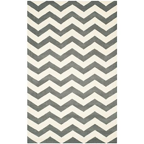 Safavieh Chatham CHT715D Dark Grey/Ivory Chevron Rug