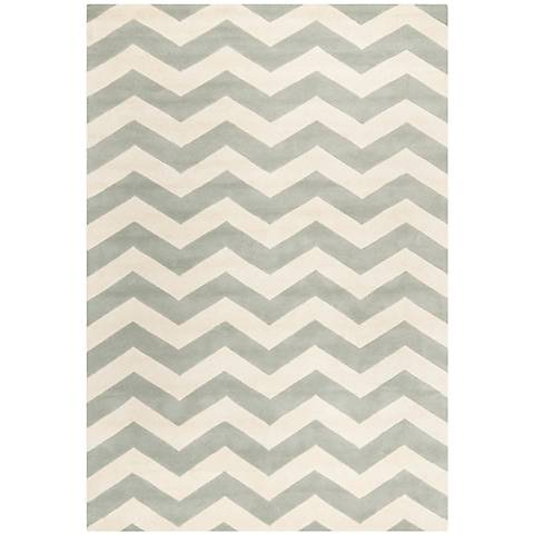 Safavieh Chatham CHT715E Light Grey/Ivory Chevron Rug