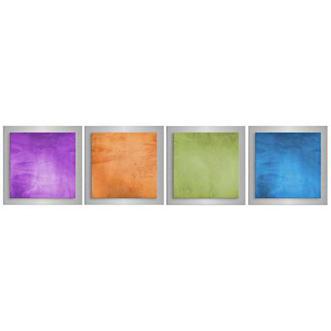 "Set of 4 Seasonal Essence 48"" Wide Modern Metal Wall Art"