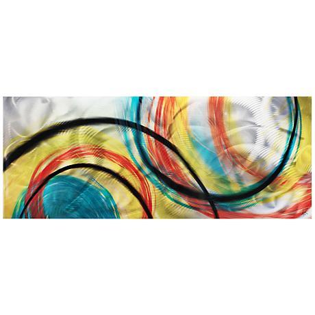 """Rainbow Seasons 48"""" Wide Landscape Metal Wall Art"""