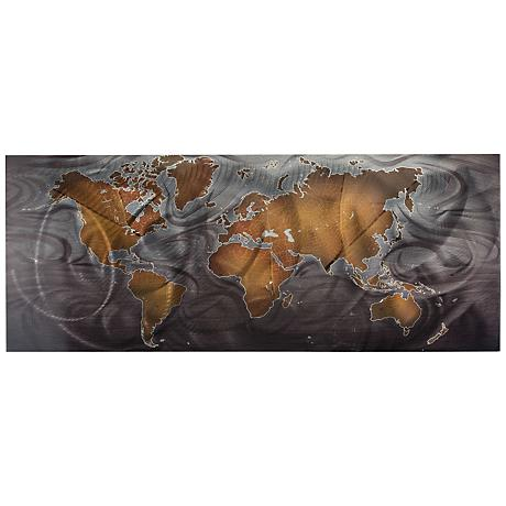 "Land and Sea Bronze Pewter 48"" Wide Abstract Metal Wall Art"