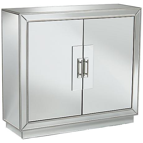 Moreno Mirrored Glass 2-Door Accent Cabinet