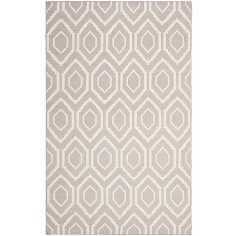 Safavieh Dhurrie DHU556G Grey/Ivory Wool Rug