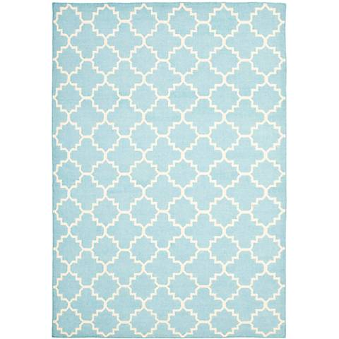 Safavieh Dhurrie DHU554B Light Blue/Ivory Wool Rug