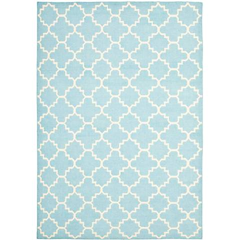 Safavieh Dhurrie DHU554B Light Blue/Ivory Wool Rug