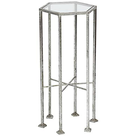 Clarissa Silver Leaf Hexagonal Accent Table