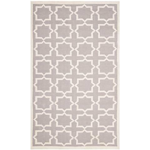 Safavieh Dhurrie DHU549G Grey/Ivory Wool Rug