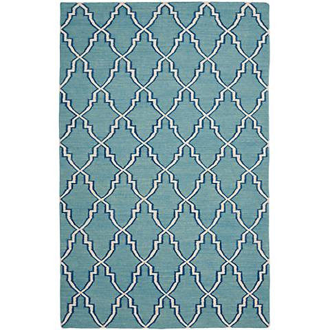 Safavieh Dhurrie DHU564B Light Blue/Ivory Wool Rug