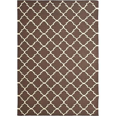 Safavieh Dhurrie DHU554C Brown/Ivory Wool Rug