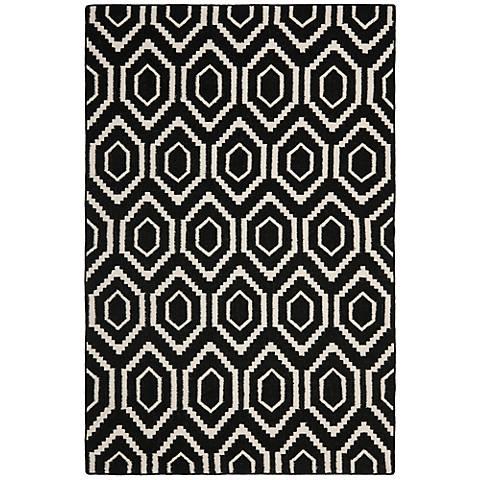 Safavieh Dhurrie DHU556L Black/Ivory Wool Rug