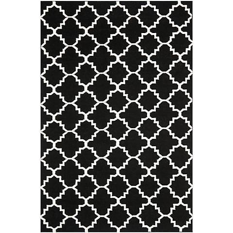 Safavieh Dhurrie DHU554L Black/Ivory Wool Rug