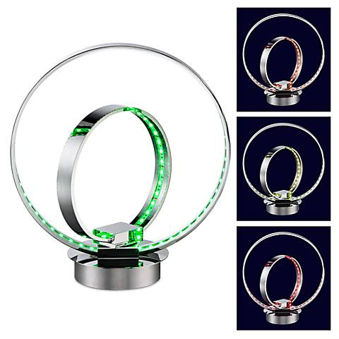 "Double Ring 14""H Color Change Accent LED Accent Table Lamp"