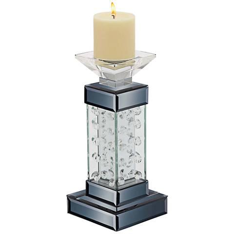 "Theron Black Jeweled 11"" High Pillar Candle Holder"