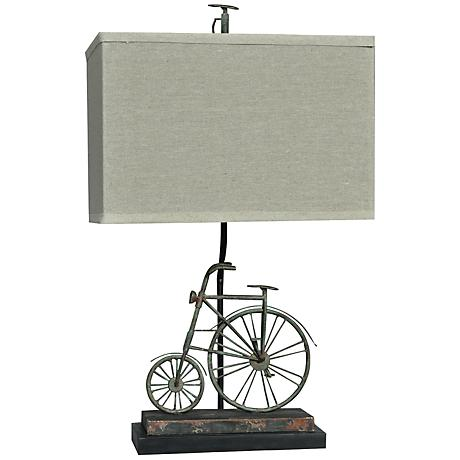Crestview Collection Big Wheel Rust Blue Table Lamp