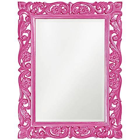 "Howard Elliott Chateau 31 1/2"" x 42"" Hot Pink Wall Mirror"