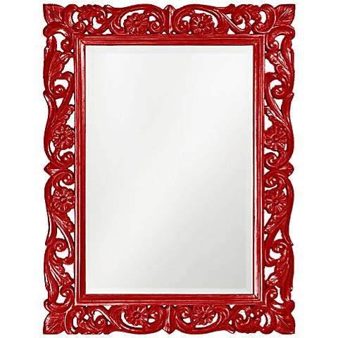 "Howard Elliott Chateau 31 1/2"" x 42"" Red Wall Mirror"
