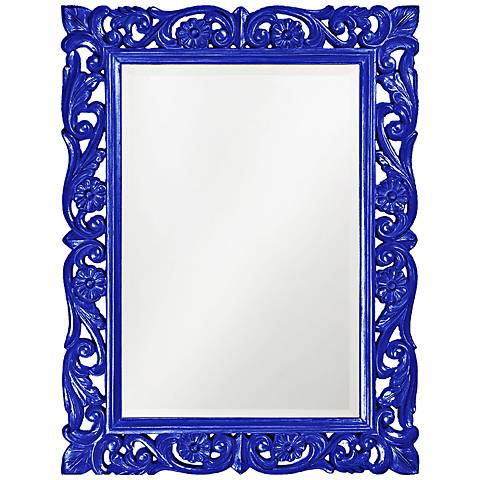 """Howard Elliott Chateau 31"""" x 41"""" Royal Blue Wall Mirror"""