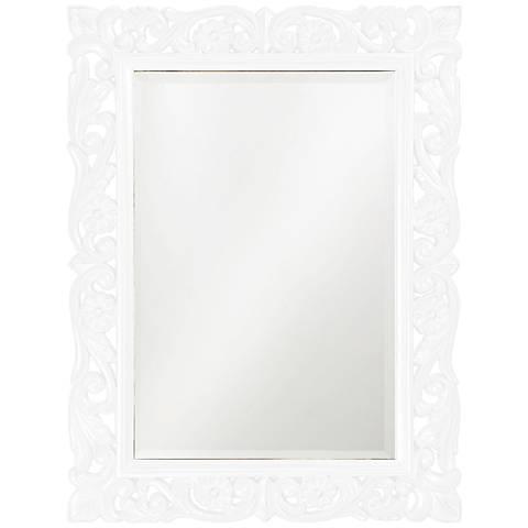 "Howard Elliott Chateau 31"" x 41"" White Wall Mirror"