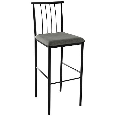 "Amisco Alan Ritzy 30"" Black Coral Textured Black Bar Stool"
