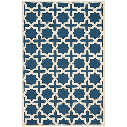 Safavieh Cambridge CAM125G Navy Blue/Ivory Wool Rug