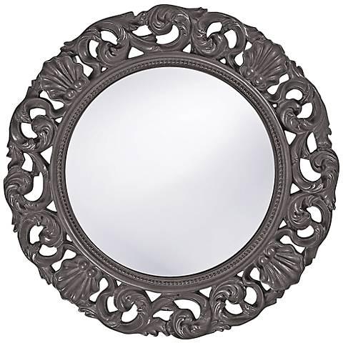 "Howard Elliott Glendale 26"" Round Charcoal Gray Wall Mirror"