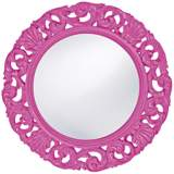 "Howard Elliott Glendale 26"" Round Hot Pink Wall Mirror"