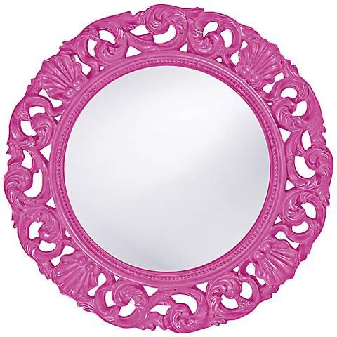 "Howard Elliott Glendale 26"" Round Hot Pink Wall Mirror"